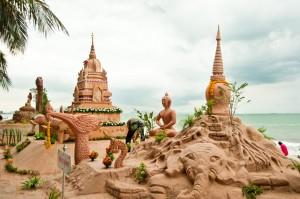 Wan Lai and Sand Castle Festival on Songkran Day at Bang San Beach, Chon Buri